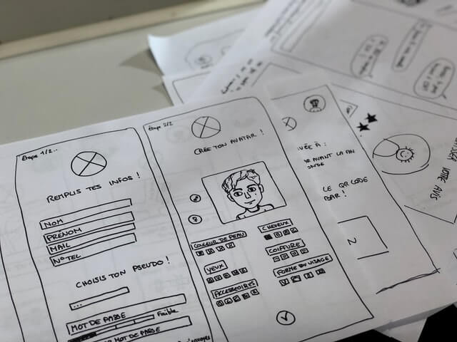 Several pages of UX design drawings.